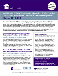 Sexuality Disability and ABA Combo Series 200: Professional Practices for Client Safety and Ethical Management of Sexualized Behavior — 201 & 202